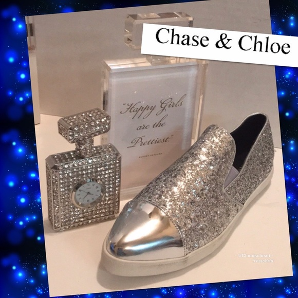 12bfe752f76f Chase + Chloe Shoes - CHASE + CHLOE Silver tips / glitter Slip ons COMFY